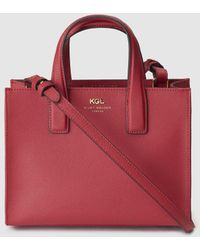 Kurt Geiger - London Red Saffiano Leather Tote Bag With Magnet - Lyst