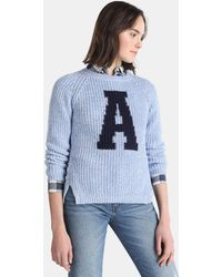 Green Coast - Blue Sweater With Contrasting Letter - Lyst