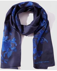 Lauren by Ralph Lauren - Navy Blue Printed Silk Foulard - Lyst