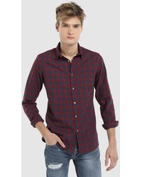 Green Coast - Slim-fit Red Checked Shirt - Lyst