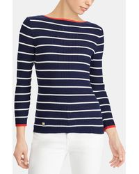 Lauren by Ralph Lauren - Ribbed Jumper With Stripes - Lyst