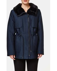 Esprit - Short Navy Blue Parka - Lyst