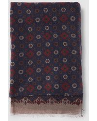Mirto - Navy Blue Printed Wool Foulard - Lyst