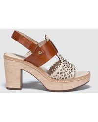 Pikolinos - Brown Cutwork Leather High-heel Sandals - Lyst