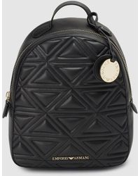 Emporio Armani Black Quilted Backpack