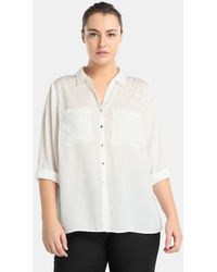 Couchel | Plus Size Blouse With Two Pockets And Diamanté On The Shoulders | Lyst