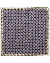 Mirto - Navy Blue Embellished Print Silk Pocket Square - Lyst