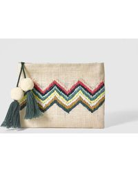 El Corte Inglés - Tan Raffia Pouch Bag With Multicoloured Zigzag Embroidery - Lyst