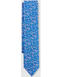Mirto - Indigo Blue Silk Tie With Multicoloured Flowers - Lyst