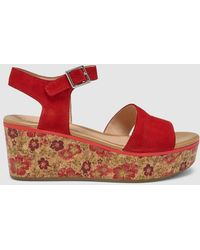 Stonefly - Red Printed Wedge Sandals - Lyst