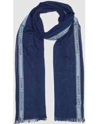 Tommy Hilfiger - Navy Blue Cotton Foulard With Pale Blue Side Stripe - Lyst