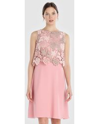 Yera - Pink Dress With Guipure Lace - Lyst