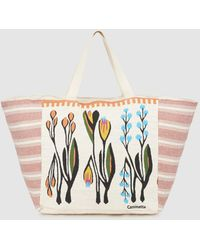Caminatta - Floral Print Fabric Shopper Bag With White And Red Embroidered Sides - Lyst