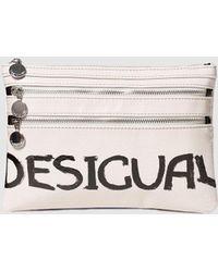 Desigual - Speak Up Cream Mouth Print Clutch - Lyst