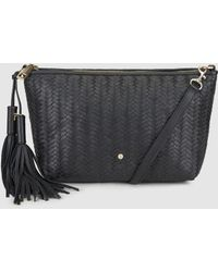 fadd15bd0d Gloria Ortiz - Bella Braided Black Leather Cross-body Bag With Zip - Lyst