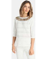 Yera - Jumper With French Sleeves And Foil Decoration - Lyst