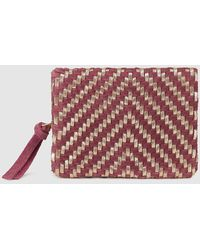 El Corte Inglés - Wo Maroon And Metallic Plaited Leather Wallet - Lyst