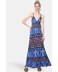 dfca34d9d1 Isaac Mizrahi New York Floral Print Criss Cross Back Maxi Dress ...
