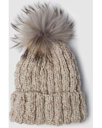 El Corte Inglés - Beige Knitted Hat With Fur Pompom - Lyst 02415a607c99