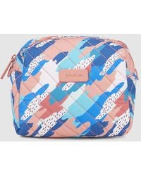 Jo & Mr. Joe - Large Pink And Blue Printed Toiletry Bag With Zip - Lyst
