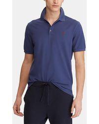 Polo Ralph Lauren - Blue Short Sleeve Slim-fit Piqué Polo Shirt - Lyst