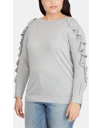 Denim & Supply Ralph Lauren - Plus Size Grey Sweater With Frill - Lyst