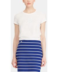 Lauren by Ralph Lauren - Short Sleeved T-shirt With Embroidery On The Chest. - Lyst