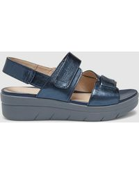 Stonefly - Blue Wedge Sandals With Double Velcro - Lyst