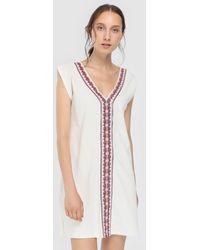 El Corte Inglés - White Cotton Kaftan With Embroidery - Lyst
