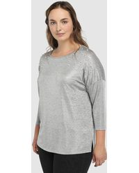 Couchel - Plus Size T-shirt With French Sleeves And Pearls - Lyst