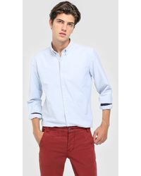 Green Coast - Plain Blue Slim-fit Shirt - Lyst