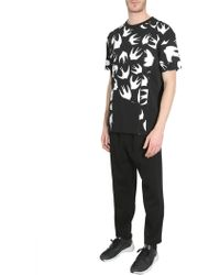McQ - Round Collar Cotton T-shirt With Swallow Patchwork - Lyst