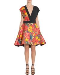 Fausto Puglisi | Flower Printed Crêpe And Silk Twill V Collar Dress | Lyst