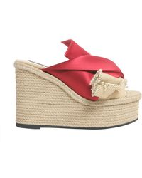 N°21 - Mule Sandals With Satin Bow And Rope Wedge - Lyst