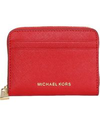 MICHAEL Michael Kors - Zip Around Coin Purse In Saffiano Leather - Lyst