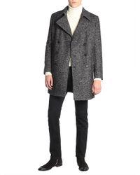 Saint Laurent - Double Breasted Pea Coat In Chevron Wool - Lyst