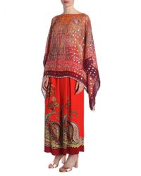 Etro - Paisley Printed Silk Poncho With Pearl Embroidered Trim - Lyst