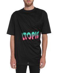 """Lanvin - T-shirt Attorcigliata Con Stampa """"utopia"""" - Lyst"""