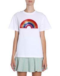Alberta Ferretti - Beaded Rainbow Cotton Jersey T-shirt - Lyst