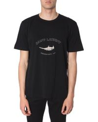 "Saint Laurent T-SHIRT IN COTONE CON STAMPA "" BIRD"""