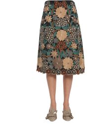 RED Valentino - Embroidered Flower Flared Skirt - Lyst