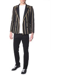 86f294fc0 Saint Laurent - Double-breasted Wool Jacket With Lurex Lines - Lyst