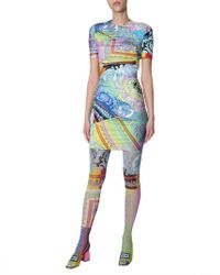 Versace - Pantyhose Tulle With Technicolor Baroque Print - Lyst