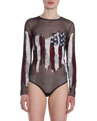 Amen - Body In Tulle Con Bandiera Americana Ricamata Con Paillettes - Lyst