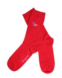 Maison Kitsuné - Long Cotton Blend Socks With Iconic Fox Patch - Lyst
