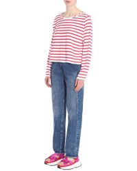 MM6 by Maison Martin Margiela - T-shirt Manica Lunga In Cotone A Righe - Lyst