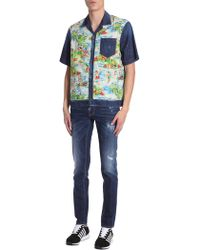 DSquared² - Denim Shirt With Hawaii Printed Insert - Lyst