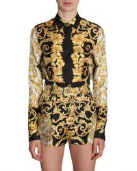 Versace - Camicia In Seta Con Stampa Baroque - Lyst