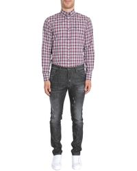 DSquared² - Check Cotton Shirt With Logo Plate - Lyst
