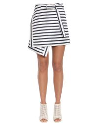 Carven - Asymmetric Striped Wrap Effect Satin Skirt - Lyst